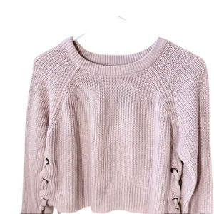 Moon & Madison Knit Side Tie Cropped Sweater Pink